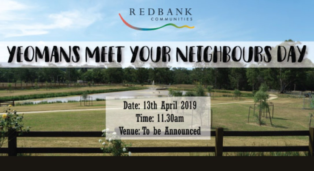 This is a promotional image that shows a waterway and green field for Yeomans Meet Your Neighbours Day.